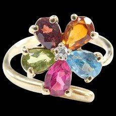 Vintage 10k Gold Colorful Gemstone Flower Ring
