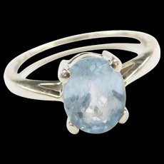 Vintage 14k White Gold Blue Topaz Ring