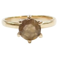 14k Gold Smoky Quartz Solitaire Ring