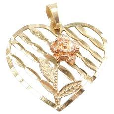 10k Gold Rose Flower Heart Pendant / Charm