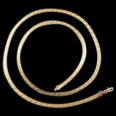 """Vintage 14k Gold Long Herringbone Chain ~ 30"""" ~ 19.0 Grams"""