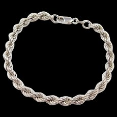 "Vintage 14k White Gold Rope Bracelet ~ 7 1/2"""