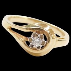 Vintage 14k Gold Two-Tone Diamond Flower Ring