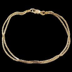 Vintage 14k Gold Double Strand Serpentine Bracelet
