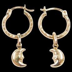 Vintage 10k Gold Hoop Earrings with Crescent Moon Dangles