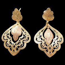 Vintage 14k Gold Two-Tone Filigree Earrings ~ Yellow and Rose Gold