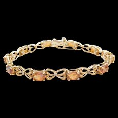 Vintage 14k Gold Topaz and Diamond Bracelet 7""