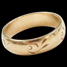 Vintage 14k Gold Band Ring with Swirl Etching