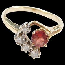 Vintage 14k Gold Garnet and Diamond Ring