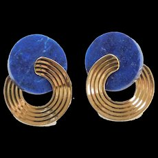Vintage 14k Gold Lapis Lazuli Earrings