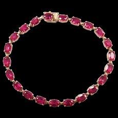 "Vintage 10k Gold 13.20 ctw Created Ruby Tennis Bracelet ~ 7 1/4"""