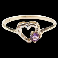 Vintage 10k Gold Two-Tone Amethyst Heart Ring