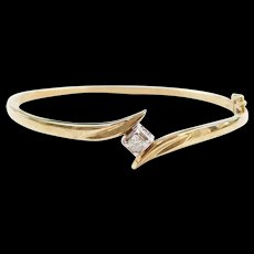 Vintage 14k Gold Two-Tone Diamond Hinged Bangle Bracelet ~ 6 5/8""