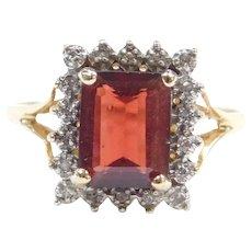10k Gold Garnet and Diamond Halo Ring