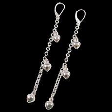 Vintage 14k White Gold Long Heart Dangle Earrings  ~ Lever Backs