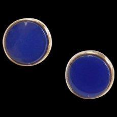 Vintage 14k Gold Lapis Stud Earrings