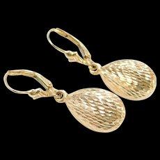Vintage 14k Gold Diamond Cut Teardrop Earrings ~ Lever Backs