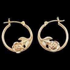 Vintage 14k Gold Two-Tone Rose Flower Hoop Earrings