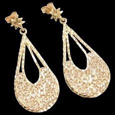 Vintage 14k Gold Big Filigree Earrings