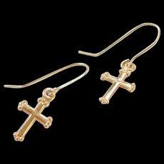 Vintage 14k Gold Small Cross Earrings