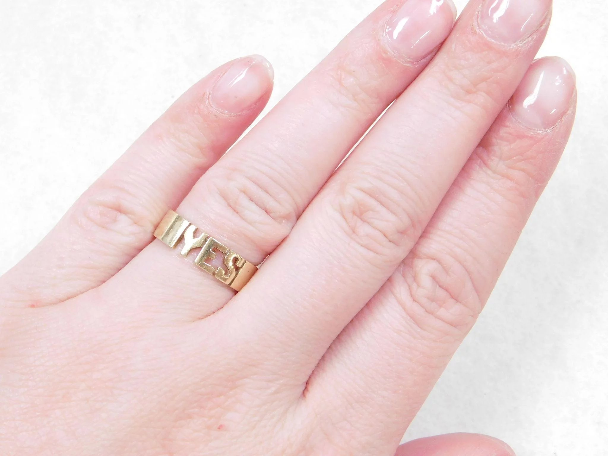 Vintage 14k Gold YES and NO Ring : Arnold Jewelers | Ruby Lane