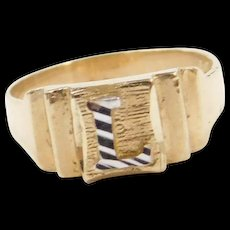 Vintage 10k Gold Two-Tone Letter L Ring  ~ Baby / Childs