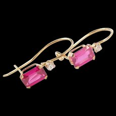 Vintage 10k Gold Created Ruby and Faux Diamond Earrings