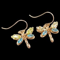 Vintage 10k Gold Blue and Green Ice Dragonfly Earrings