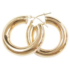 Vintage 14k Gold Thick Hoop Earrings