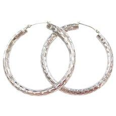 Vintage 14k White Gold Diamond Cut Hoop Earrings