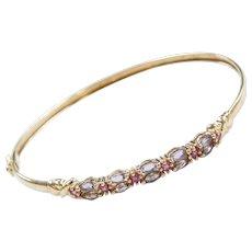 Vintage 10k Gold Iolite and Pink Tourmaline Bangle Bracelet