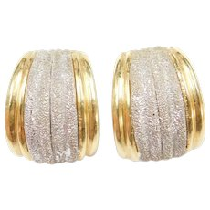 Vintage 18k Gold BIG Two-Tone Earrings