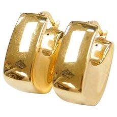 Vintage 18k Gold Puff Hoop Earrings