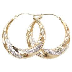 Vintage 14k Gold Two-Tone Hoop Earrings