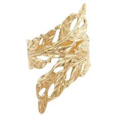 Vintage 14k Gold Bypass Leaf Ring