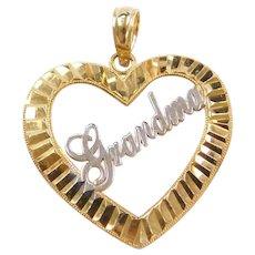 Vintage 14k Gold Two-Tone Grandma Heart Pendant