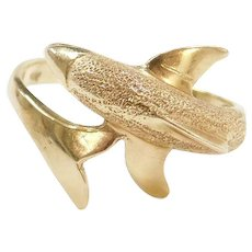 Vintage 14k Gold Bypass Dolphin Ring