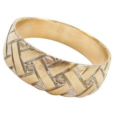 Vintage 14k Gold Two-Tone Diamond Band Ring