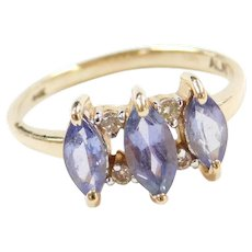Vintage 14k Gold Iolite and Diamond Ring