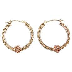 Vintage 10k Gold Two-Tone Rose Flower Hoop Earrings