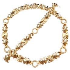 "Vintage 14k Gold Chunky Necklace and Bracelet Set 17"" & 7"" ~ 78.6 Grams"