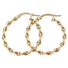 Vintage 10k Gold Twisted Hoop Earrings