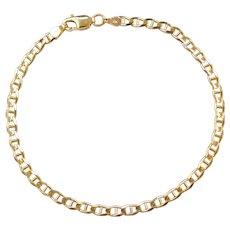 """Vintage 10k Gold Flat Marine Anchor Link Bracelet ~ 7"""""""