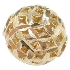 Vintage 10k Gold Diamond Cut Bead Pendant