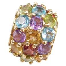 Vintage 10k Gold Colorful Gemstone Bead Pendant