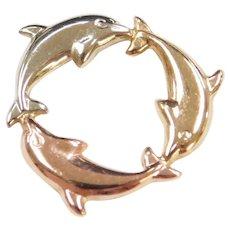 Vintage 10k Gold Tri-Color Dolphin Pendant