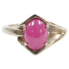 Vintage 10k White Gold Lab Star Ruby Ring