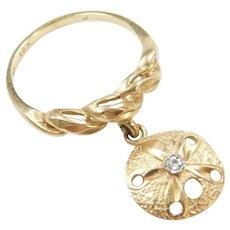 Vintage 10k Gold Diamond Sand Dollar Charm Ring