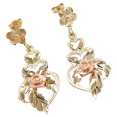 Vintage 10k Gold Two-Tone Heart and Flower Earrings