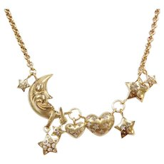 """Vintage 14k Gold Moon, Star and Heart Necklace ~ 16"""""""
